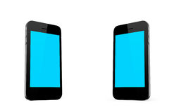 Two Smart Phones Standing. With blank empty blue screen, isolated on white background stock images