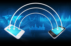Two smartphone and arrows Stock Images