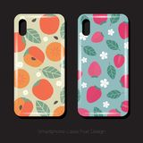Two smartphone Cases Fruit Design. Persimmons and strawberry patterns with leaves and flowers. vector illustration