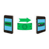 Two smartphones and dollar stock illustration
