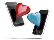 Two Smartphones With Love Hearts Royalty Free Stock Photography