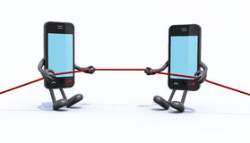 Two smartphones make tug of rope. 3d illustration Stock Images