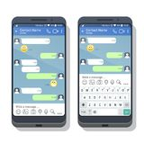 Two smartphones with social network or messenger application template with and without virtual keyboard. For mobile devices on the screens. Chat or sms app vector illustration