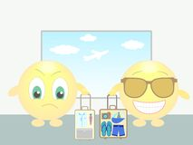 Two smiles in airport: bussiness trip and vacation Royalty Free Stock Photos