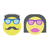 Two smiles. Smiley woman in sunglasses with lipstick and man with moustache. Royalty Free Stock Image