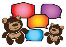 Two Smiley Cartoon Teddy Bears Conversation Royalty Free Stock Photo