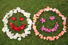 Two smiley faces emoticons from petals of rose on background of Royalty Free Stock Images