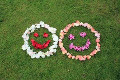 Two smiley faces emoticons from petals of rose on background of Stock Images