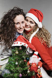 Two smiley friends near little christmas tree and Royalty Free Stock Image