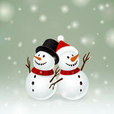Two smiley snowman Royalty Free Stock Image