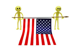 Two smilies holding US flag Stock Photos