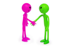Two smilies shaking hands Stock Photos