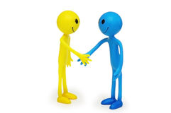 Two smilies shaking hands isolated. On white Stock Photo