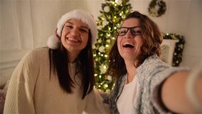 Two Smiling Attractive Women Making Selfie on Christmas Tree Background. One Girl with Curly Hair Wearing Glasses stock footage