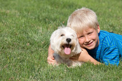 Two smiling blond buddies Stock Photos