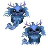 Two smiling blue monster with horns and big eyes Stock Photography