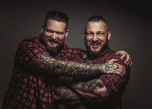 Two smiling brutal bearded males. Two smiling brutal bearded males with tattooed arms isolated on grey background Royalty Free Stock Photography