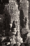 Two smiling Buddha heads at the temple of Bayon Royalty Free Stock Photos