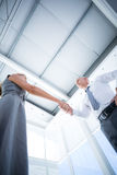 Two smiling business people shaking hands Royalty Free Stock Images