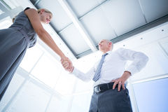 Two smiling business people shaking hands Stock Images