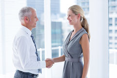 Two smiling business people shaking hands Stock Image