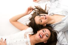 Two smiling businesswomen have fun Stock Images