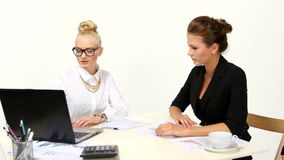 Two smiling businesswomen working with laptop in. Office stock video