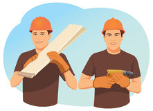 Two smiling carpenters Royalty Free Stock Image