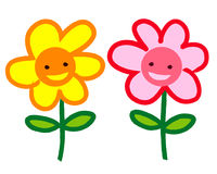 Two smiling cartoon flowers Stock Photography