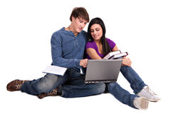 Two Smiling Casual Dressed College Student Working Stock Image