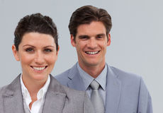 Two smiling caucasian co-workers Royalty Free Stock Images