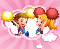Two smiling cheerdancers vector illustration