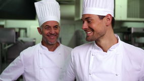 Two smiling chefs giving ok sign to camera. In a commercial kitchen stock video