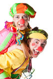 Two smiling clowns. Isolated over a white background Stock Photos