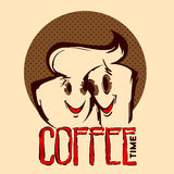 Two smiling Cup of coffee. Delicious coffee design, vector illustration eps10 graphic Stock Photo