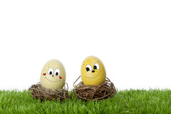 Two smiling faces painted on Easter eggs. Two smiling faces painted on Easter traditional eggs on grass, with a white background Stock Photo