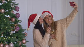 Two smiling female smiling posing for photos. Women take a selfie photo using smartphone. Beautiful girls standing near christmas tree in apartment. Brunette stock footage