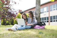 Two smiling female students are sitting on the grass. Stock Photo