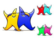 Two smiling friendly stars Royalty Free Stock Images
