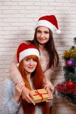 Two smiling friends in Santa caps sitting near Christmas tree. New Year, Christmas time, surprise, gift, celebration concept Stock Photos