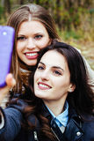 Two smiling friends taking selfie Royalty Free Stock Photography