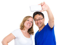 Two smiling friends taking selfie Stock Photo