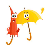 Two smiling funny umbrella characters, open and closed, saying hello Stock Image