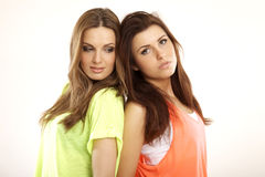 Free Two Smiling Girl Friends - Blond And Brunette Stock Photo - 33088640