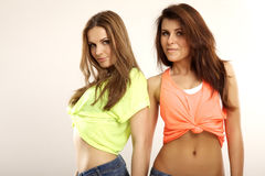 Two smiling girl friends - blond and brunette Stock Photos