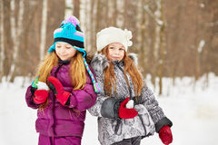 Two Smiling Girlfriends Stand In Winter Park Stock Images