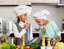 Two smiling girls cooking vegetable soup at home kitchen Royalty Free Stock Photos