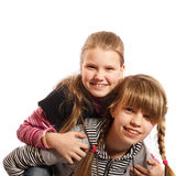 Two smiling girls playing Royalty Free Stock Image