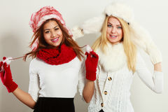 Two smiling girls in warm winter clothing. Stock Photography
