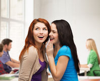 Two smiling girls whispering gossip. Friendship, happiness and education concept - two smiling girls whispering gossip stock photos